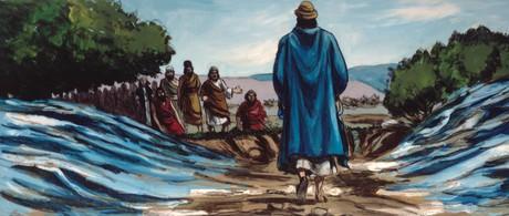 Elisha walking through Jordan River