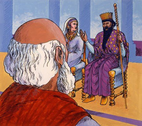 king speaking to Mordecai