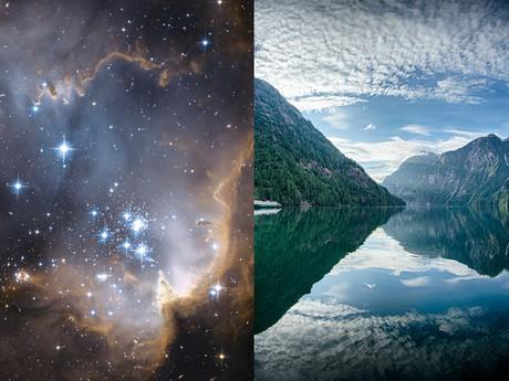 starry sky; mountain lake