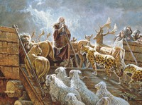 Noah and animals on ark
