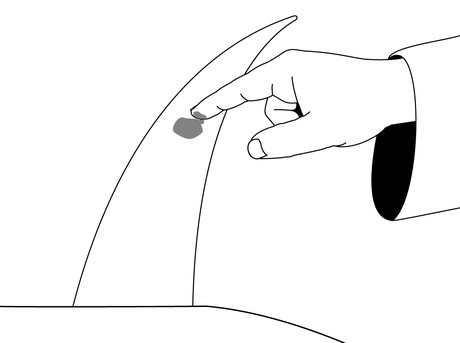 drawing of finger putting blood on horn