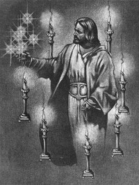 Christ with candlesticks and stars