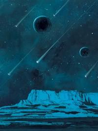 night sky with meteors