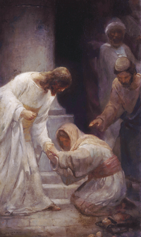 Jesus Christ healing a woman