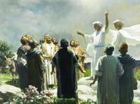 Engel und die Apostel in Galiläa