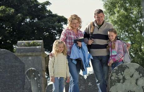 family in cemetery