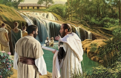 illustration of baptism at the waters of Mormon