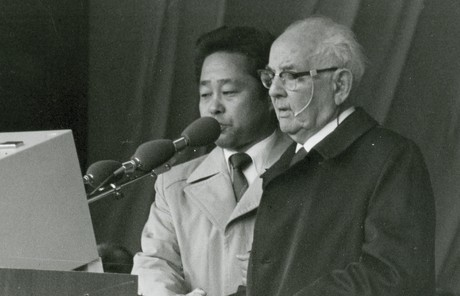 President Spencer W. Kimball speaking at a pulpit