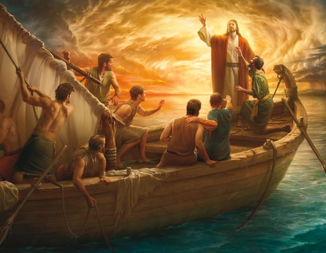 Christ on boat with Apostles