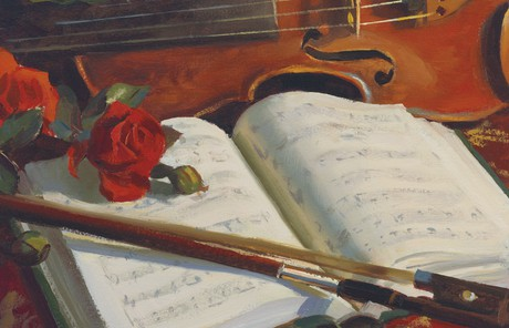 violin and hymnbook