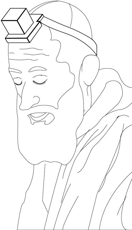 man wearing tefillin