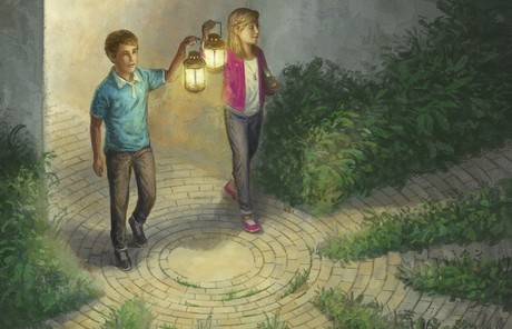 young man and young woman walking with lanterns