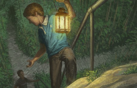 illustration of boy with lantern reaching out to someone