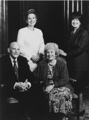 Hunter with wife and daughters
