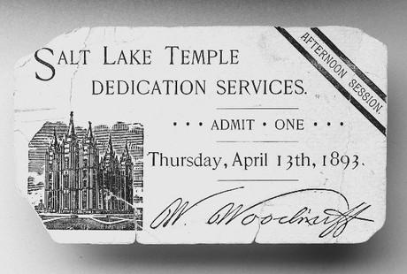 Temple dedication ticket