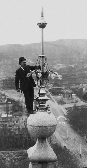 man on spire