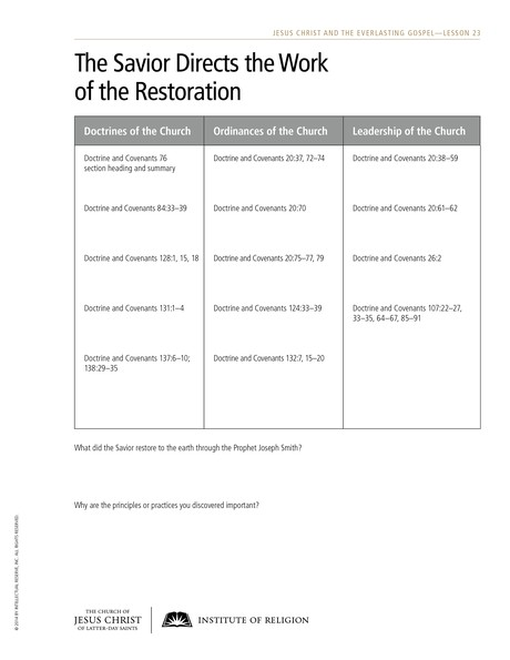 handout, Savior Directs the Work of the Restoration