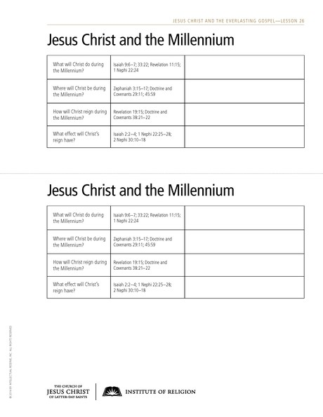 handout, Jesus Christ and the Millennium