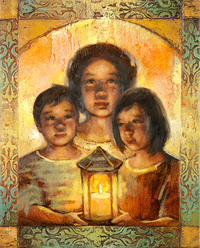 children with lantern