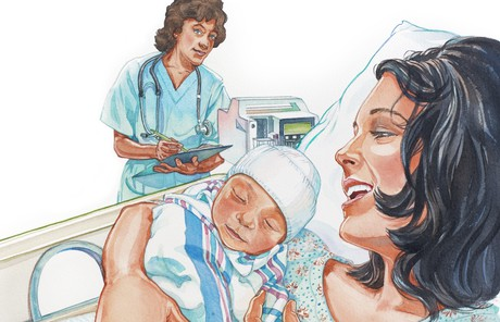 mother and newborn in hospital