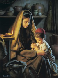 Jesus Praying with His Mother