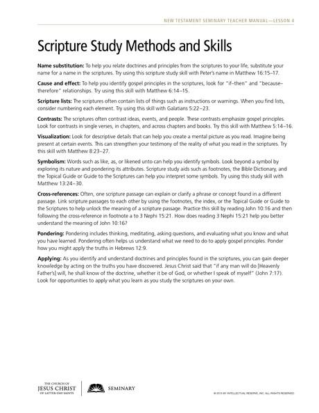 handout, scripture study methods and skills