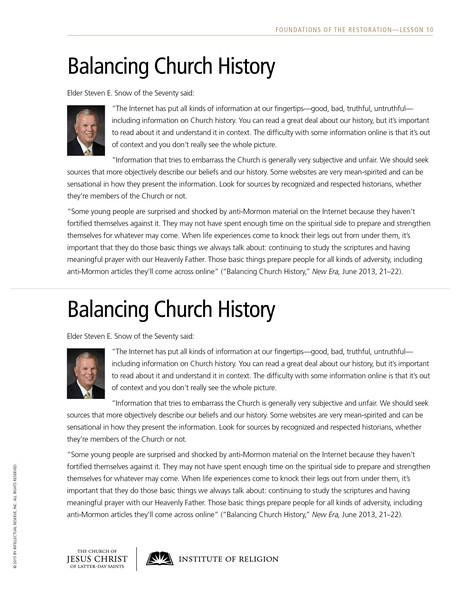 handout, Balancing Church History