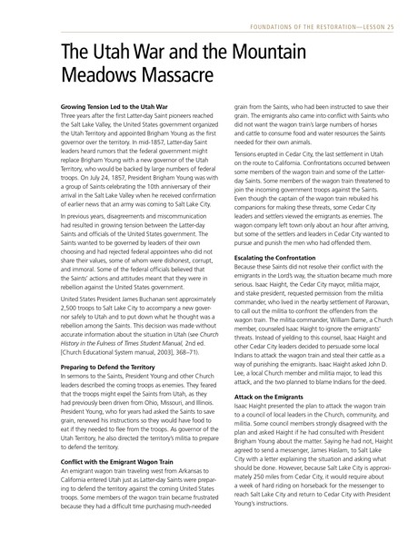 handout, Utah War and the Mountain Meadows Massacre
