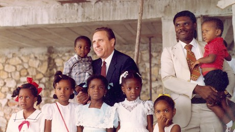 President Monson with children in Haiti
