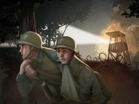 helmeted soldiers below watchtower