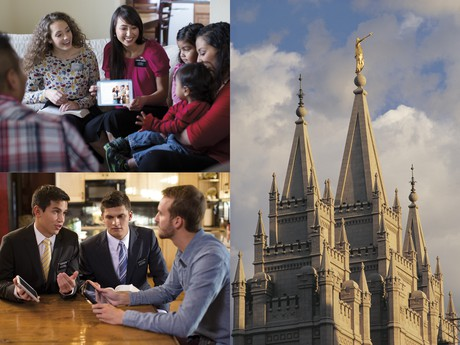 sister missionaries teaching family, elders teaching man, Salt Lake Temple spires