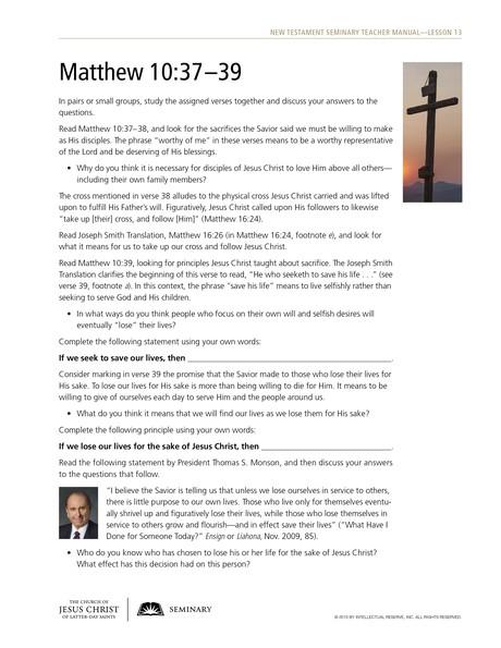 handout, Matthew 10:37–39