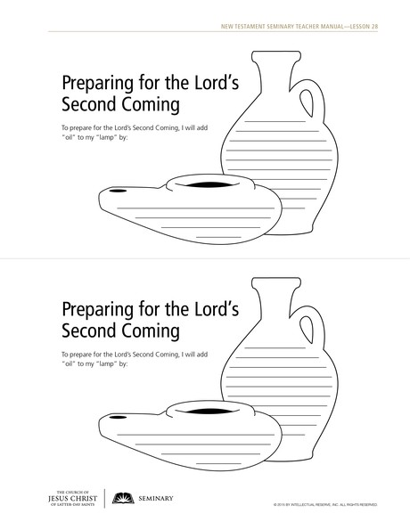 handout, Preparing for the Lord's Second Coming
