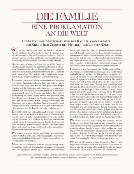 """Die Erklärung """"Der lebendige Christus"""" und die Proklamation """"Die Familie"""""""