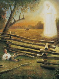 Joseph Smith Visited by Moroni in the Field