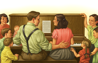 family around piano