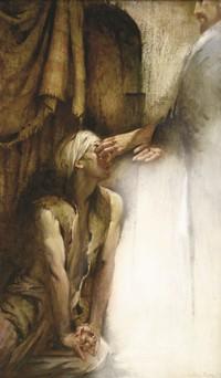 Jesus laying hdnds on man's eyes