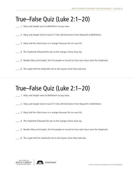 handout, true-false quiz