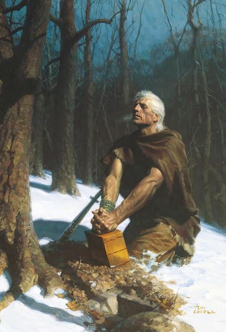Moroni kätkee nefiläisten aikakirjan maahan.