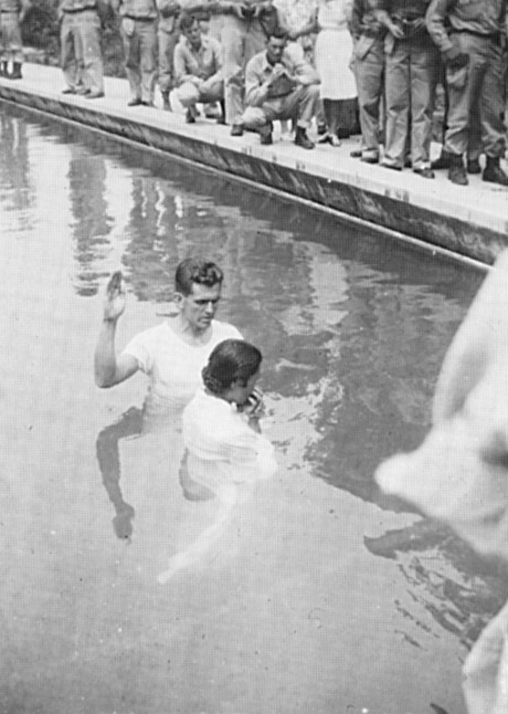 Boyd K. Packer baptizing a Japanese woman