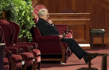 Boyd K. Packer sitting in Conference Center