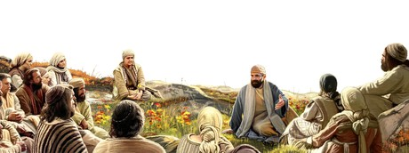 Apostle Paul sitting and teaching