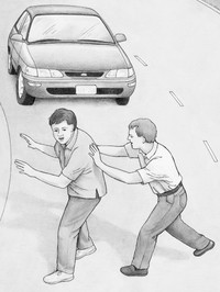 man pushing another man from street with automobile coming