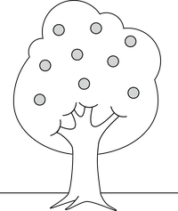 drawing, tree with fruit