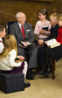 President Hinckley with youth
