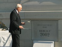 President Hinckley applies mortar