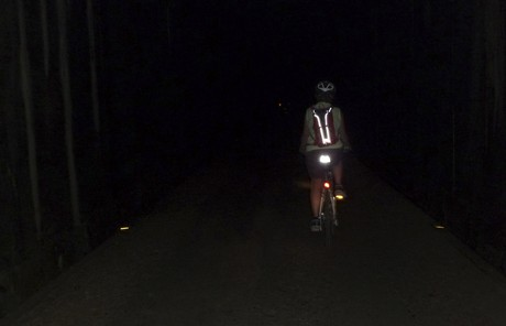 bicycle in tunnel with reflective light