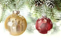 ornaments with reflections of people