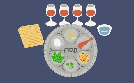 table set with passover meal