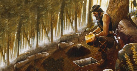 Moroni burying golden plates
